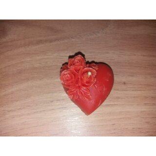 Kerze Herz mit Rosen aus Bienenwachs