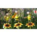 metal garden decoration plug 80 cm, with happy bee on flower