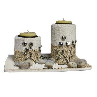 Teelichthalter-Set mit Deko-Steinen