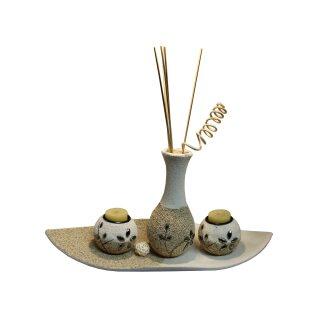 Teelichthalter-Set mit Deko-Stein + Vase
