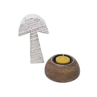 Teelichthalter-Set mit Dekopilz und Teelichtern