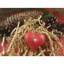 Herz Kerze aus Bienenwachs. Bienenwachskerze rot durchgefärbt