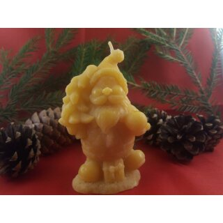 Kerze Weihnachtswichtel aus Bienenwachs, Weihnachtsmann